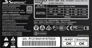 Блок питания Seasonic Platinum 400 Fanless [SS-400FL2]