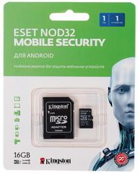 Карта памяти Kingston microSDHC 16 Гб + NOD32 Mobile Security