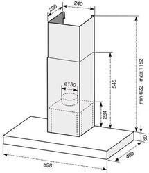 Вытяжка каминная Electrolux EFC90462OX серебристый