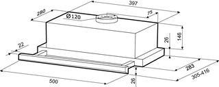 Вытяжка полновстраиваемая KRONAsteel KAMILLA Slim 500 inox серебристый