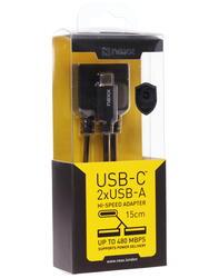 Кабель NEXX  2xUSB A - USB-C черный