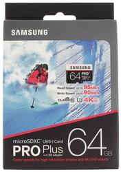 Карта памяти Samsung PRO Plus microSDXC 64 Гб