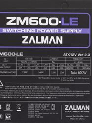 Блок питания Zalman LE 600W [ZM600-LE]