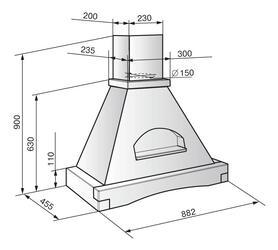 Вытяжка каминная Elikor Терем 90П-650-П3Г белый