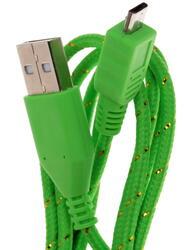 Кабель Solomon Nylon micro USB - USB зеленый
