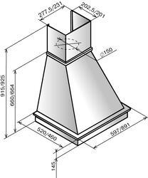 Вытяжка каминная Elikor Капелла 90П-700-П3Г бежевый