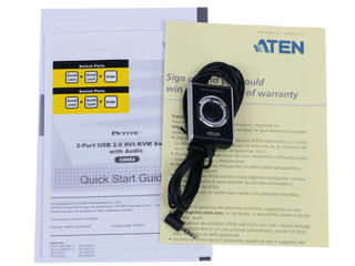 KVM переключатель ATEN CS682 1 user USB+DVI-D =\>  2 cpu USB+DVI-D, со встр.шнурами USB+Audio 2x1.2м.