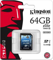 Карта памяти Kingston Elite SDX10G3/64GB SDXC 64 Гб