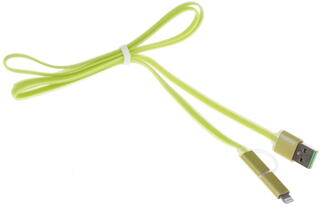 Кабель Remax 2 IN 1 Data Cable Aurora Cable USB - micro USB зеленый