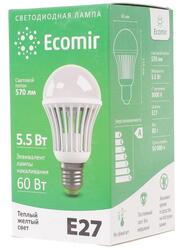 Лампа светодиодная Ecomir 5.5W E27 220V 3000K