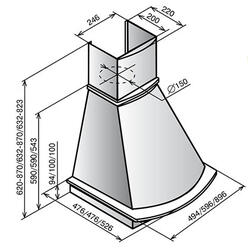 Вытяжка каминная Elikor Ротонда 60П-1000-П3Г бежевый