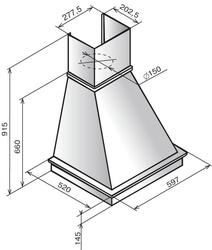 Вытяжка каминная Elikor Капелла 60П-700-П3Г бежевый