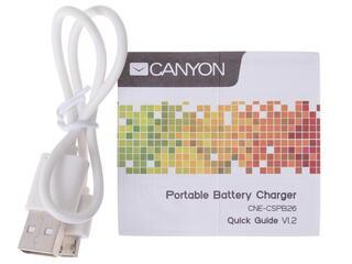 Портативный аккумулятор CANYON CNE-CSPB26W белый, серебристый