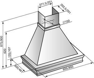 Вытяжка каминная Elikor Вилла Луизиана 90П-650-П3Г бежевый