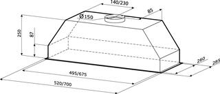 Вытяжка полновстраиваемая KRONAsteel MINI 600 white Slider белый