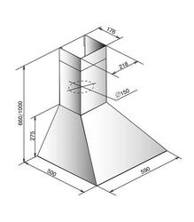 Вытяжка каминная ELIKOR SILVER STORM 60 650-П3Л серебристый