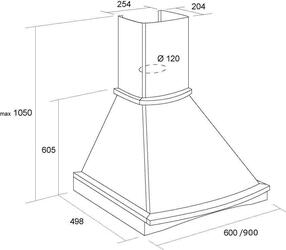Вытяжка каминная Pyramida R 90 WHITE/U белый