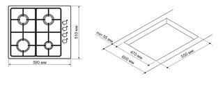 Газовая варочная поверхность Pyramida PSX 641 INOX