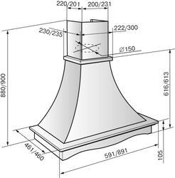 Вытяжка каминная Elikor Рококо 60П-700-П3Г белый