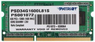 Оперативная память SODIMM Patriot Signature [PSD34G1600L81S] 4 ГБ