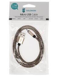 Кабель SOLOMON Nylon USB - micro USB золотистый