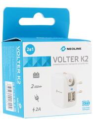 Сетевое + автомобильное зарядное устройство Neoline Volter K2