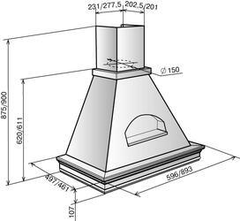 Вытяжка каминная Elikor Вилла Валенсия 90П-650-П3Г бежевый