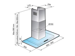 Вытяжка каминная Samsung HDC9D90UG серебристый