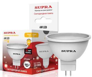 Лампа светодиодная Supra SL-LED-PR-MR16-6W/3000/GU5.3