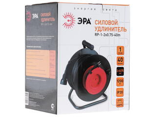 Удлинитель силовой Эра RP-1-2x0.75-40m черный