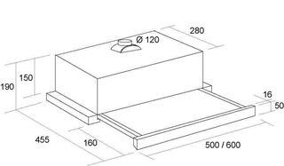 Вытяжка встраиваемая Pyramida TL GLASS 60 INOX BLACK/N серебристый