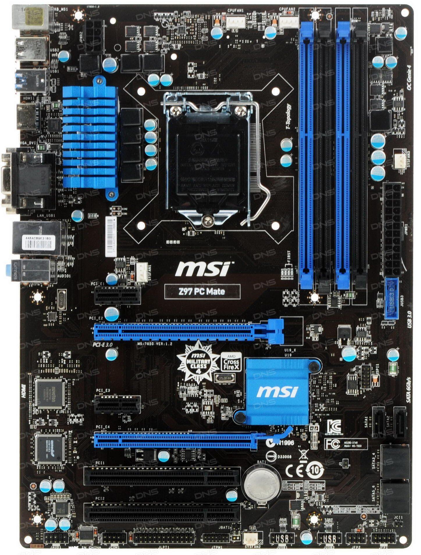 ... о Материнская плата MSI Z97 PC Mate - DNS