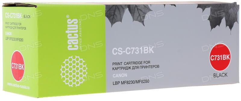 Картридж Cactus CS-C731BK Black для Canon LaserBase MF8230 i-Sensys/MF8280 i-Sensys/MF623cn/LBP7110Cw