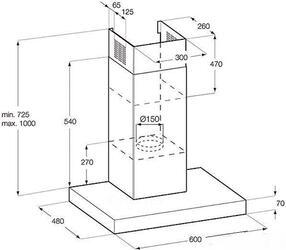 Вытяжка каминная Electrolux EFC90640X серебристый