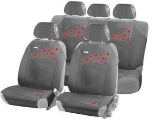 Чехол на сиденье майка в комплекте H&R STRAWBERRIES PLUS полисет с аппликац., серая