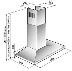 Вытяжка каминная Korting KHC 6750 X серебристый