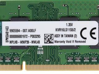 Оперативная память SODIMM Kingston [KVR16LS11S6/2] 2 ГБ