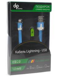 Кабель DIOPRO для Apple 8 pin - USB (1м, плоский, Синий)