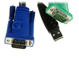 [ATEN 2L-5202U] Кабель/шнур, монитор+клавиатура+мышь USB, SPHD15=\>HD DB15+USB A-Тип, Male-2xMale, опрессованный, 1.8 метр., (для CS-1708;CS-1716)