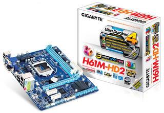 Плата Gigabyte LGA1155 GA-H61M-HD2 H61 2xDDR3-1333 1xPCI-E HDMI/DVI/DSub 8ch 4xSATA GLAN mATX_