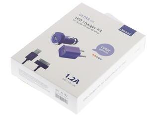 Сетевое + автомобильное зарядное устройство Deppa Ultra Colour 11162