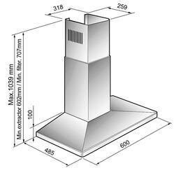 Вытяжка каминная Korting KHC 6730 X серебристый