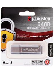 Память USB Flash Kingston DataTraveler Locker+ G3 DTLPG3 64 Гб