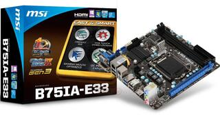 Плата MSI B75IA-E33 Soc-1155 iB75 DDR3 mini-ITX AC'97 8ch. GbLAN VGA+HDMI+DVI