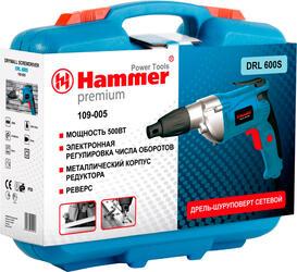 Шуруповерт HAMMER DRL600S PREMIUM  500Вт 1/4'' 0-1600об/мин
