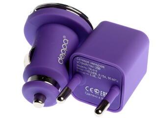 Сетевое + автомобильное зарядное устройство Deppa Ultra Colour 11165