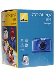 Компактная камера Nikon Coolpix S33 синий + рюкзак
