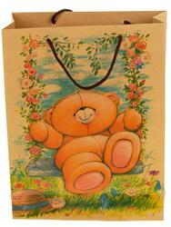 Пакет подарочный Мишка на качелях
