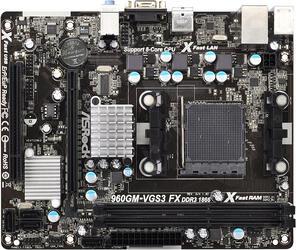 Плата ASRock Socket-AM3+ 960GM-VGS3 FX AMD760G/SB710 2xDDR3-1866 PCI-E DSub 6ch 4xSATA  GLAN mATX