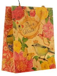 Пакет подарочный Цветы с птицами